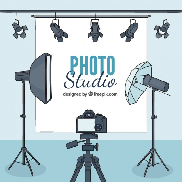 626x626 Hand Drawn Photography Studio With Accessories Vector Free Download