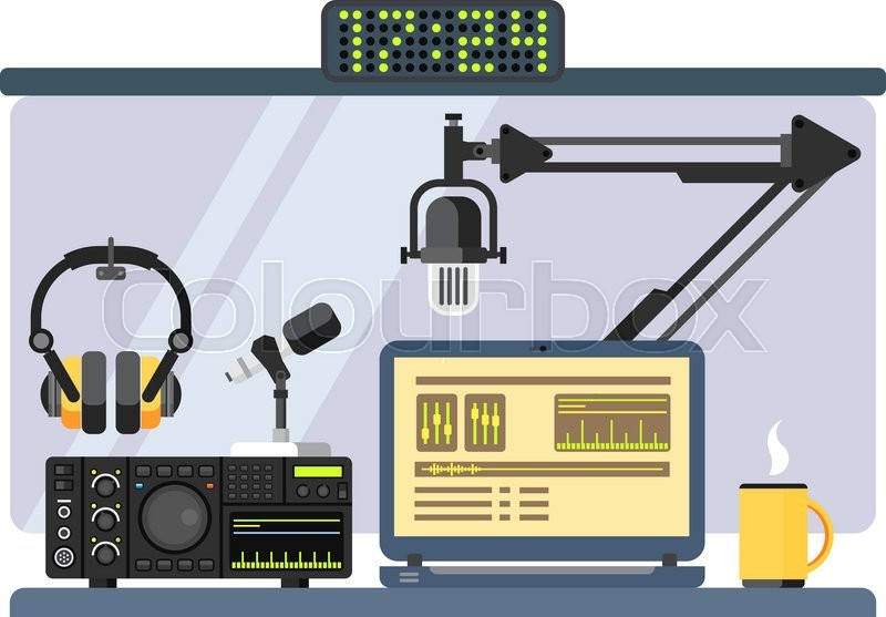800x557 Professional Radio Station Studio With Microphone And Other