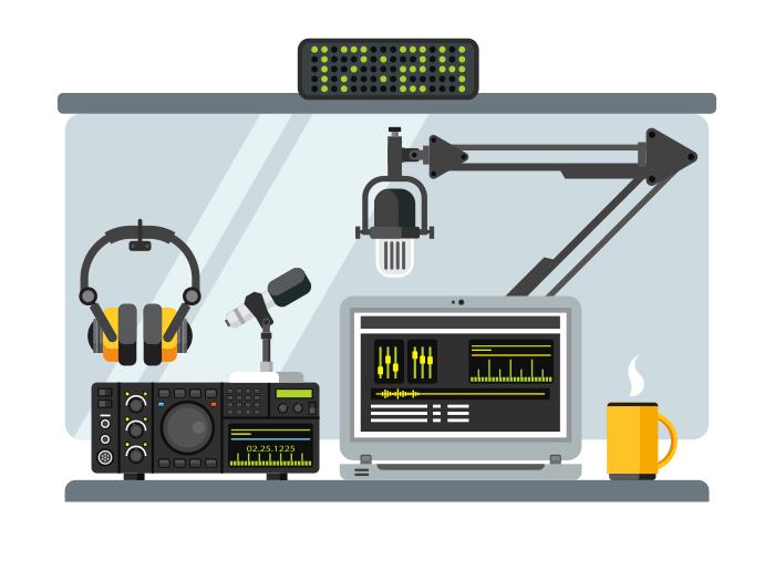 700x525 Radio Station Studio Flat Illustration