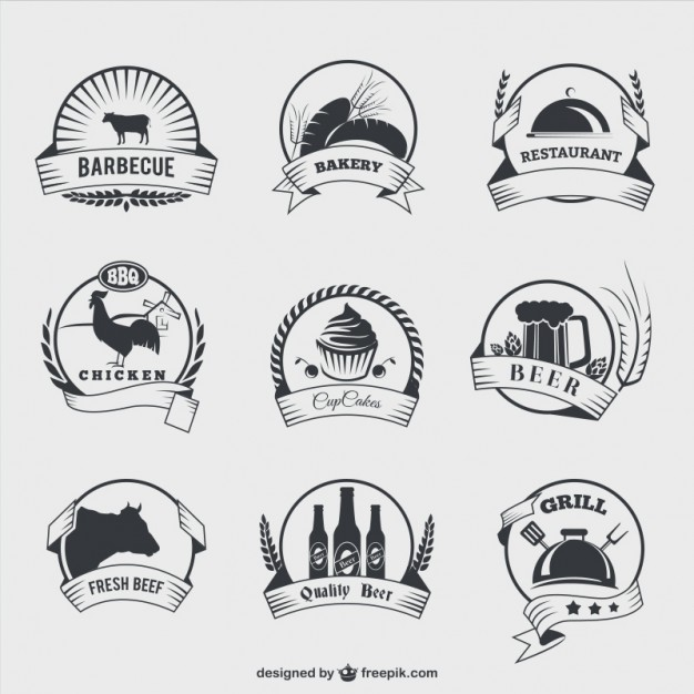 626x626 Food Badges In Retro Style Vector Free Download