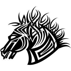 300x300 Horse Tribal Style Vector