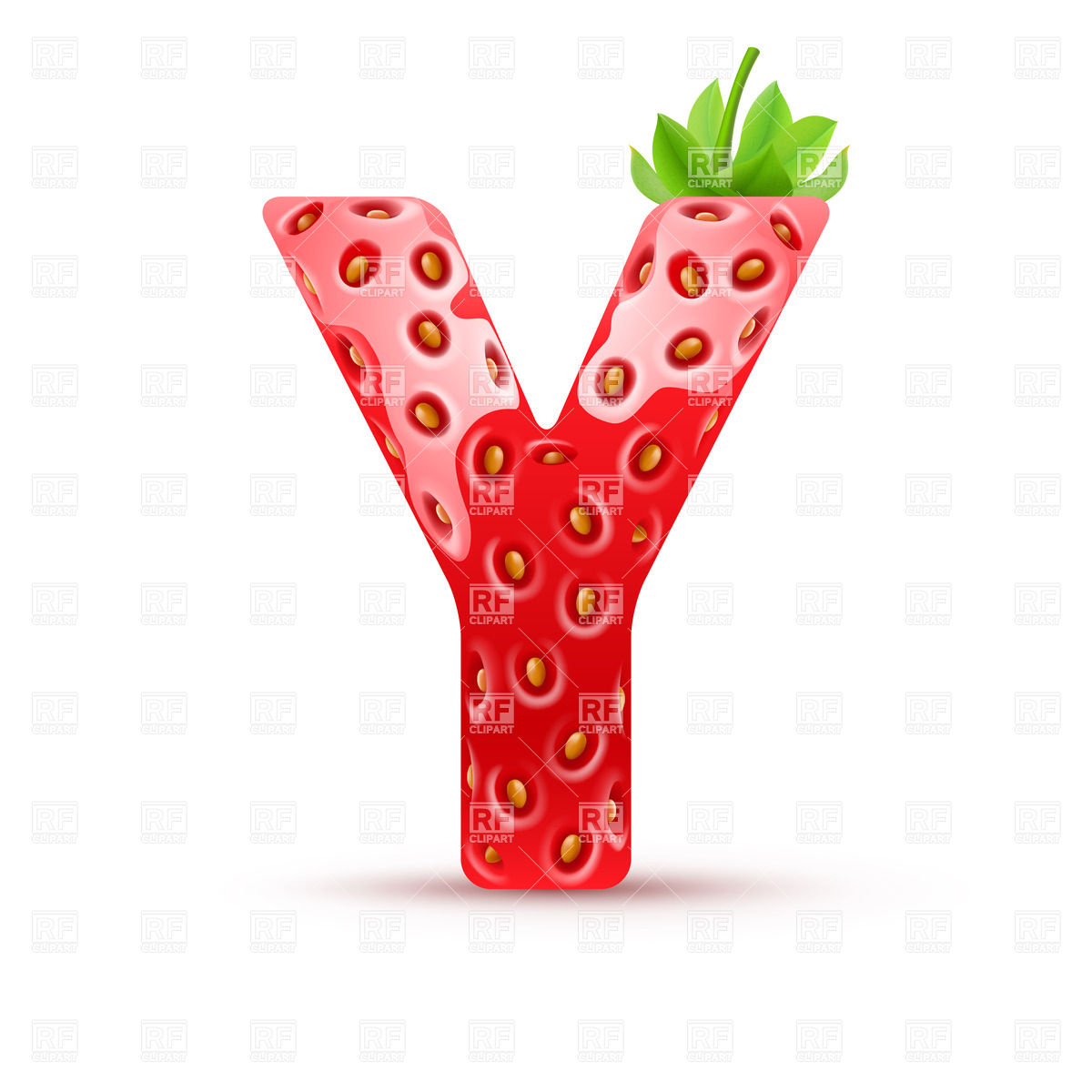 1200x1200 Letter Y In Strawberry Style With Green Leaves Vector Image