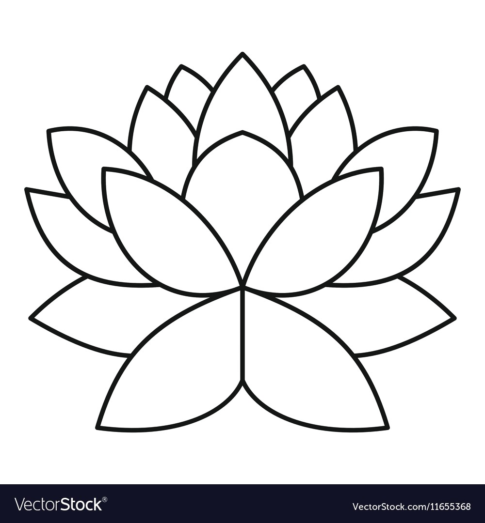 1000x1080 Lotus Flower Icon Outline Style Vector 11655368 16