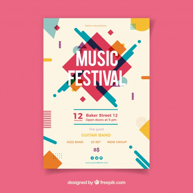 626x626 Music Festival Poster With Instruments In Flat Style Vector Free