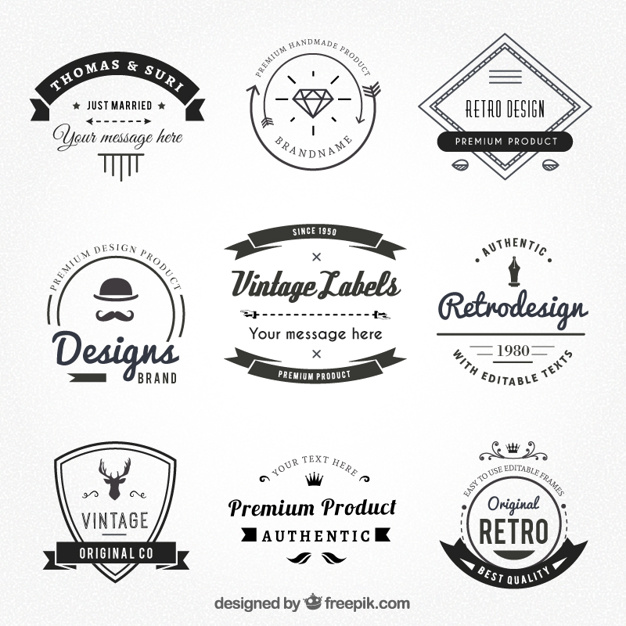 626x626 Vintage Labels In Hispter Style Vector Premium Download