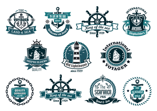 500x354 Land And Sea Labels Vintage Style Vector 03 Free Download