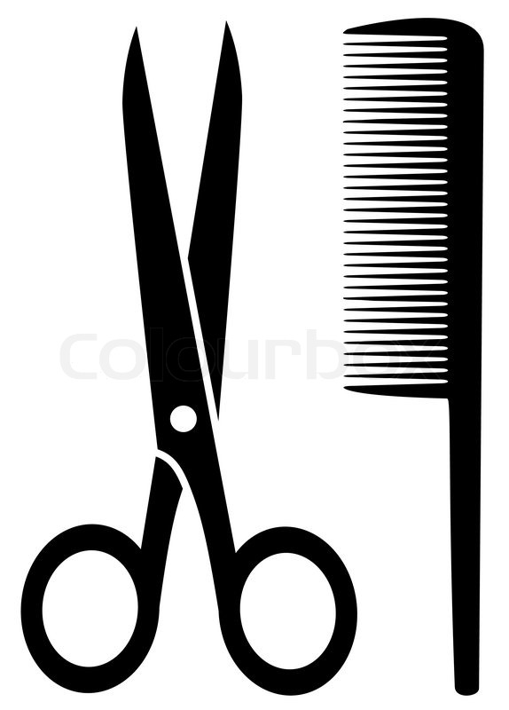 574x800 Isolated Comb And Scissors Black Silhouette On White Background