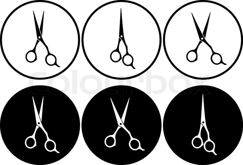 800x546 Set Of Isolated Black And White Professional Scissors In Round