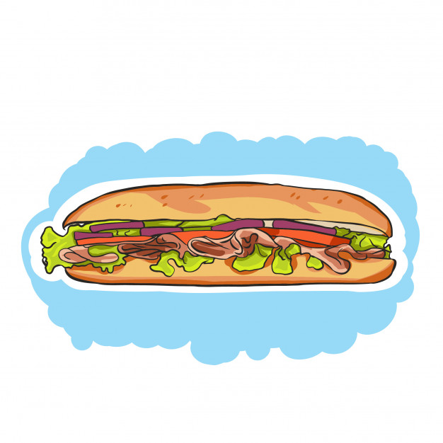 626x626 A Colorful Cartoon Sub Sandwich With Lettuce,tomato,meat,and