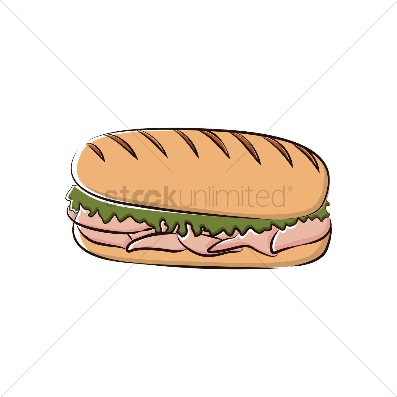1300x1300 Submarine Sandwich Vector Image