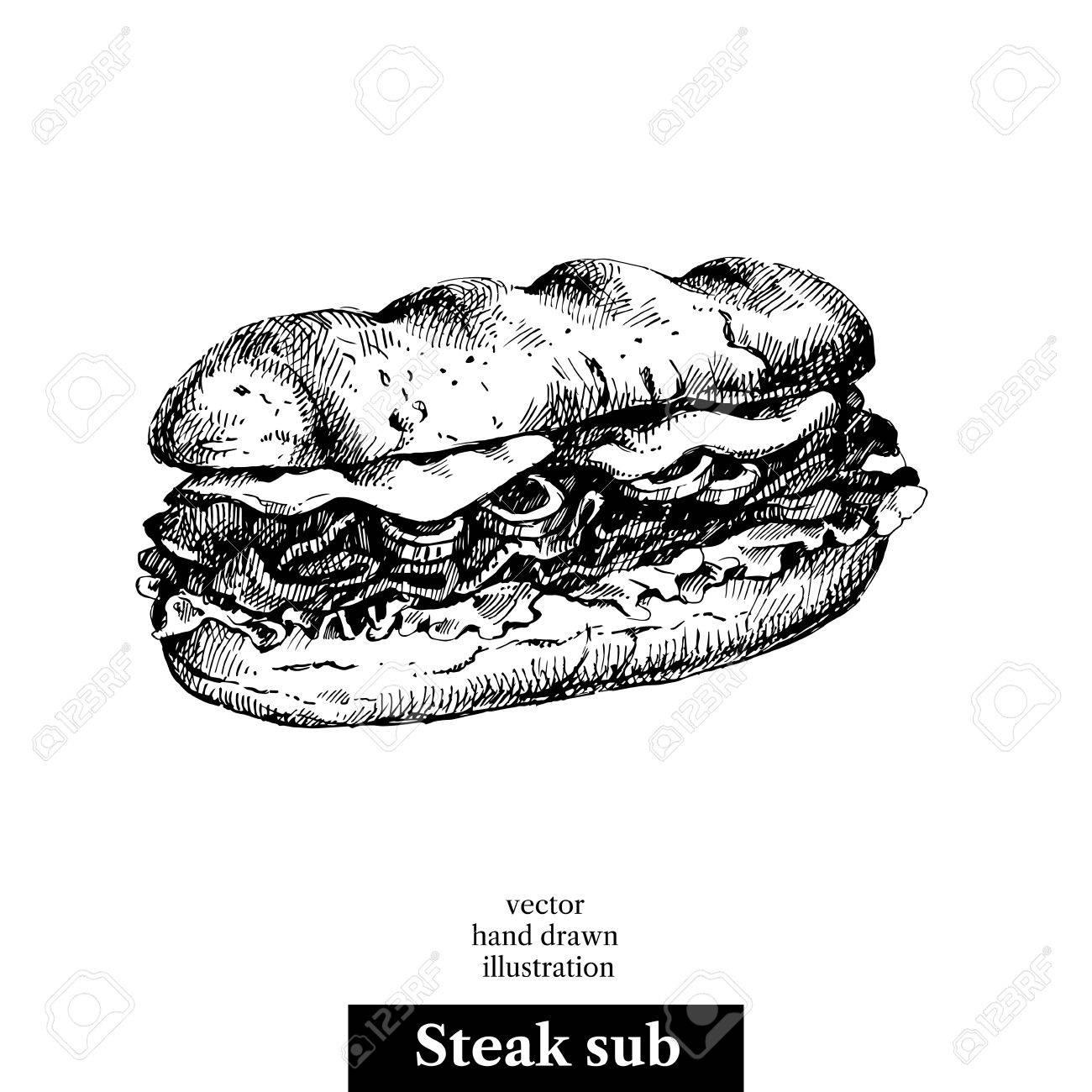1300x1300 Drawing Of A Sandwich Hand Drawn Sketch Steak Sub Sandwich Royalty