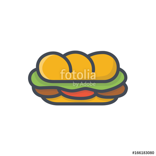500x500 Fast Food Sandwich Sub Colored Icon Stock Image And Royalty Free