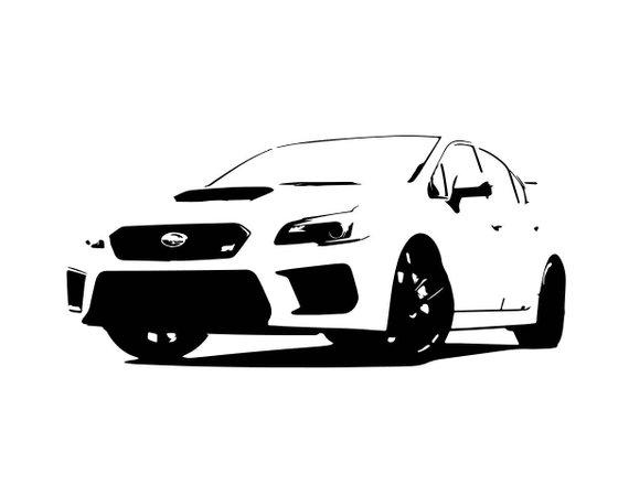 570x440 Subaru Wrx Sti Bampw Line Drawing Vector Vectorized Print Ultra Etsy