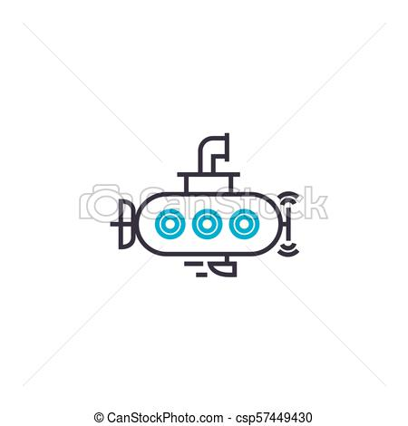 450x470 Small Submarine Vector Thin Line Stroke Icon. Small Submarine