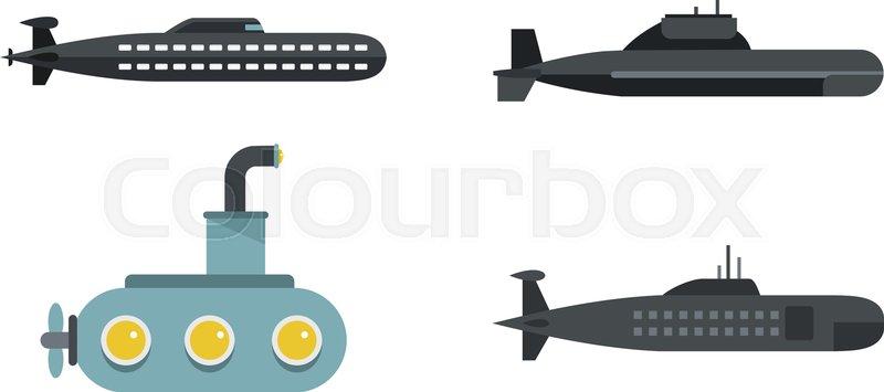 800x355 Submarine Icon Set. Flat Set Of Submarine Vector Icons For Web