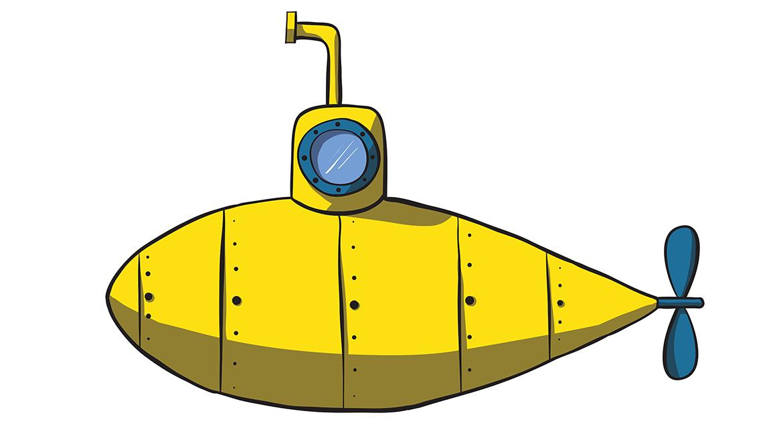 1170x669 Cartoon Yellow Submarine. Vector Hand Drawn Illustration