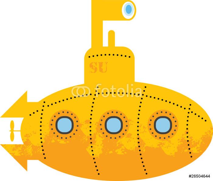700x595 Yellow Submarine, Vector Illustration Wall Mural We