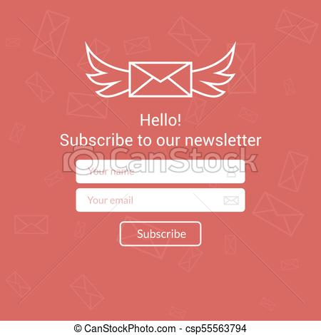 450x470 Vector Template Email Subscribe. Submit Form For Website Email