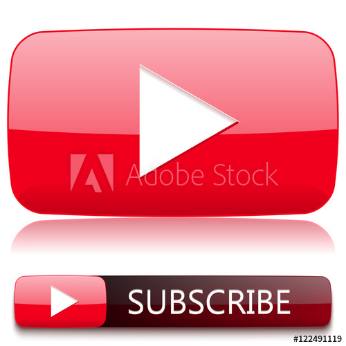 500x500 Play Button For Video Player And A Button To Subscribe. Vector