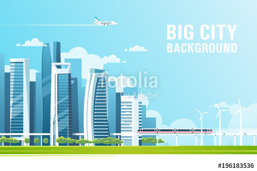 500x334 Urban Landscape With Modern Skyscrapers And Subway. Vector