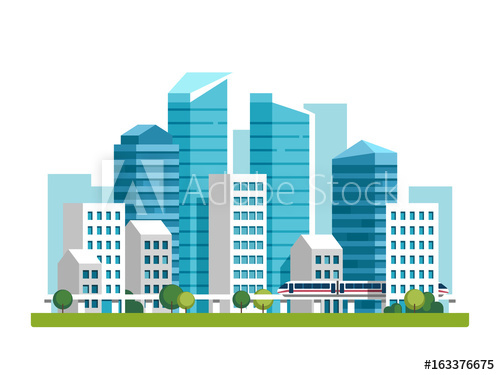 500x375 City Downtown Landscape With High Skyscrapers And Subway. Vector