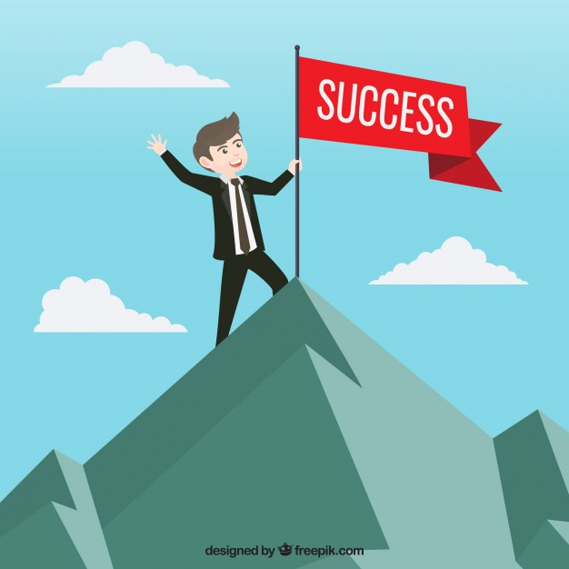 626x626 Businessman With Red Flag Of Success Vector Free Download