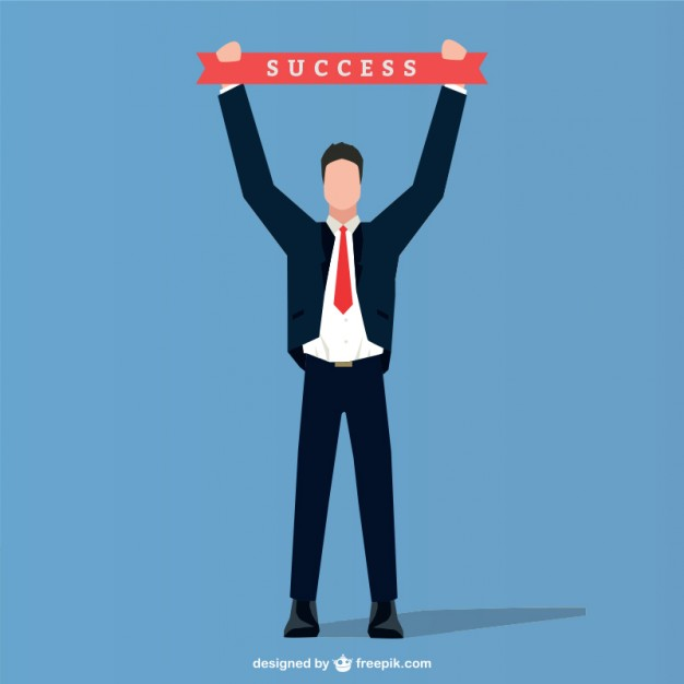626x626 Businessman With Success Ribbon Vector Free Download