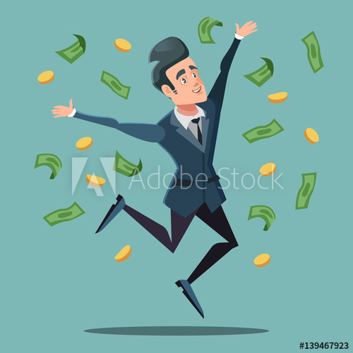 500x500 Happy Businessman Jumping Under Money Rain. Business Success