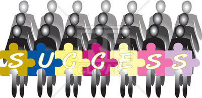400x194 Rows Of People With Puzzle Shaped Banner And Word Success Vector