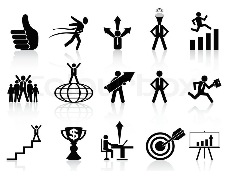 800x600 Successful Business Icons Set Stock Vector Colourbox