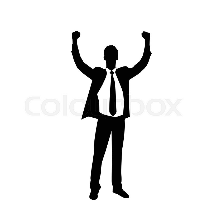 800x800 Business Man Silhouette Excited Hold Hands Up Raised Arms