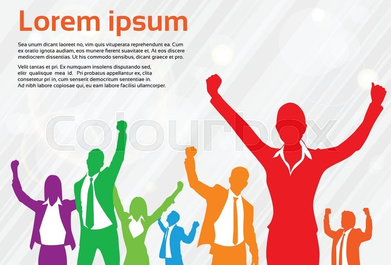 800x543 Business People Celebration Colorful Silhouette Hands Up