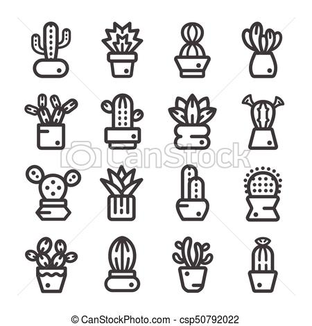 450x470 Cactus,succulent Plant Line Icon. Cactus,succulent Plant,thin Line