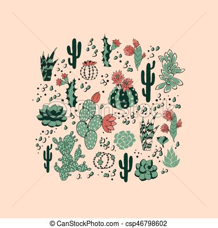 450x470 Succulent Seamless Pattern. Seamless Pattern With Succulents