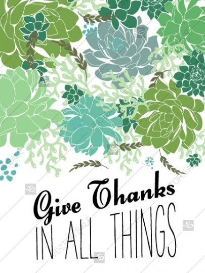 405x540 Give Thanks In All Things Thanksgiving Print Poster Succulent