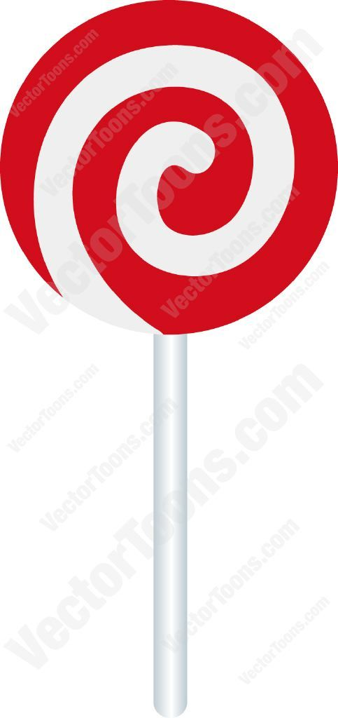 483x1024 Red And White Swirled Lollipop Vector Illustrations