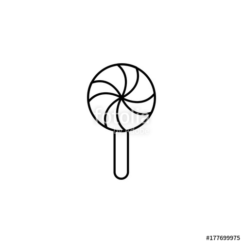 500x500 Sucker Lollipop Candy Line Black Icon Stock Image And Royalty