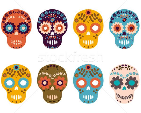 600x480 Day Of The Dead Sugar Skulls, Colorful Flower Skull Set Vector