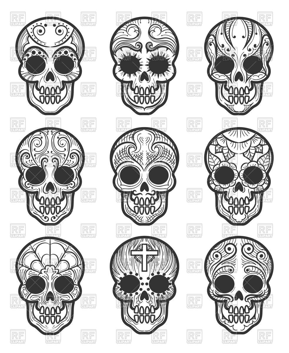 982x1200 Calavera Or Sugar Skull Tattoo Set For Mexican Day Of The Dead