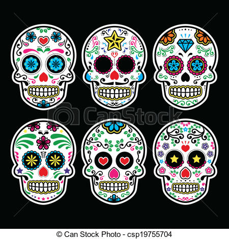 450x470 Mexican Sugar Skull. Vector Icon Set Of Decorated Skull