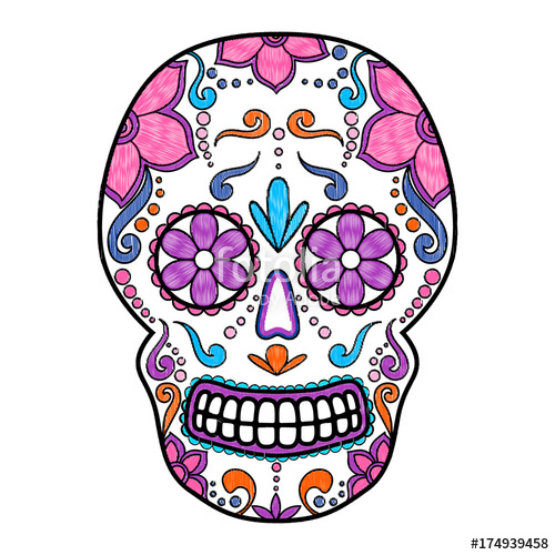 500x500 Day Of The Dead Colorful Skull With Floral Ornament. Embroidery