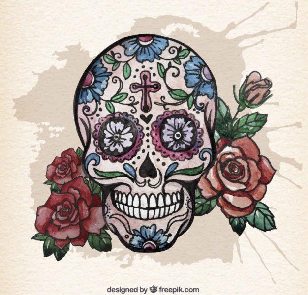 626x600 Sugar Skull With Roses Watercolor Sugar Skull With Roses Vector