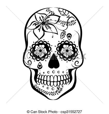450x470 Sugar Skull. Vector Sugar Skull Isolated On White Background.