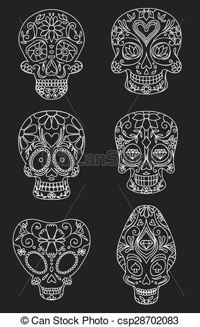 288x470 Sugar Skulls, Day Of The Dead, Vector Illustration.
