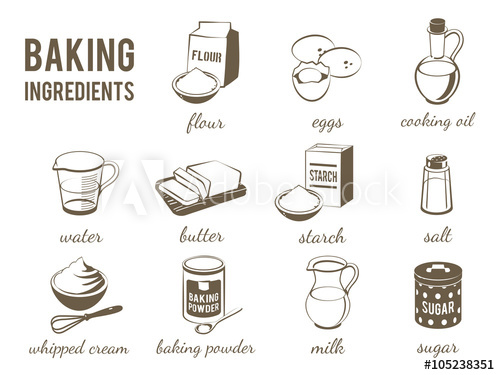 500x375 Set Of Monochrome, Lineart Food Icons Baking Ingredients