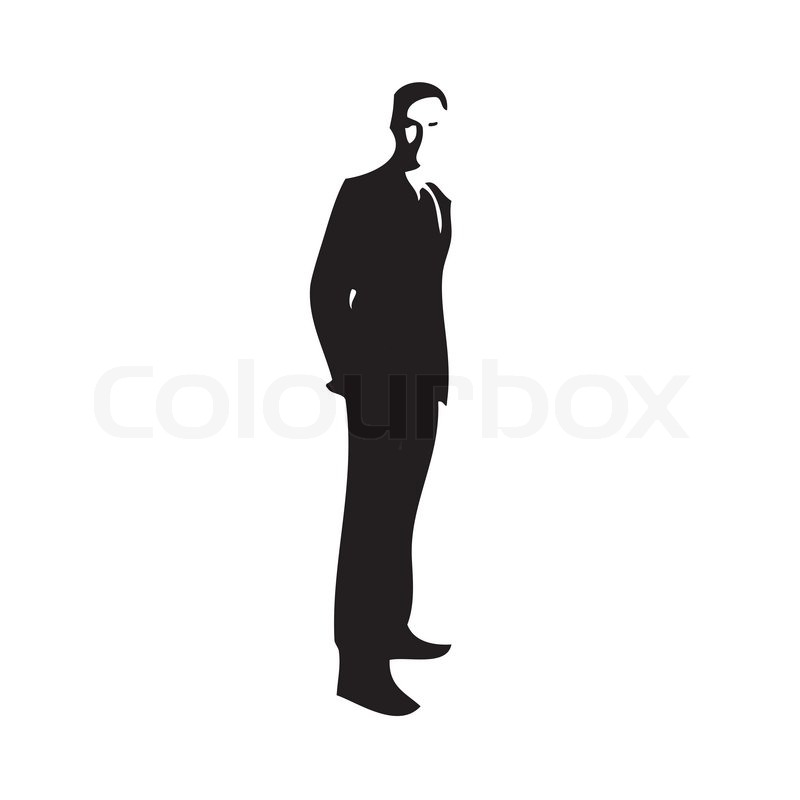 800x800 Silhouette Of A Gentleman Wearing A Suit Stock Vector Colourbox