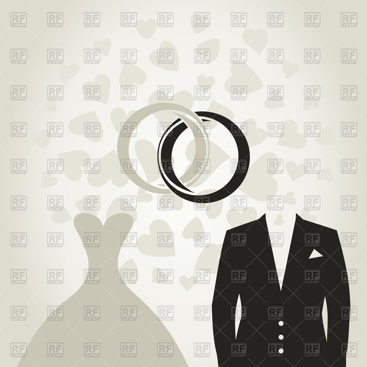 1200x1200 Wedding Dress And Suit Vector Image Vector Artwork Of