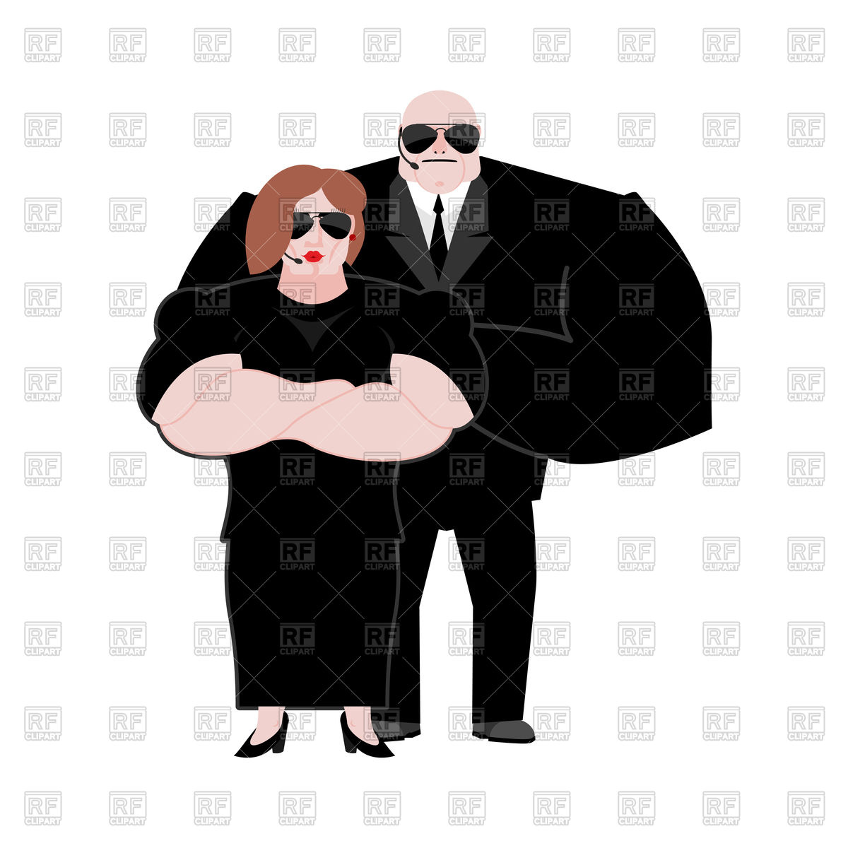 1200x1200 Bodyguard Husband And Wife In Black Suit Vector Image Vector