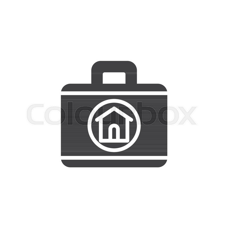 800x800 Real Estate Agent Briefcase Icon Vector, Filled Flat Sign, Solid