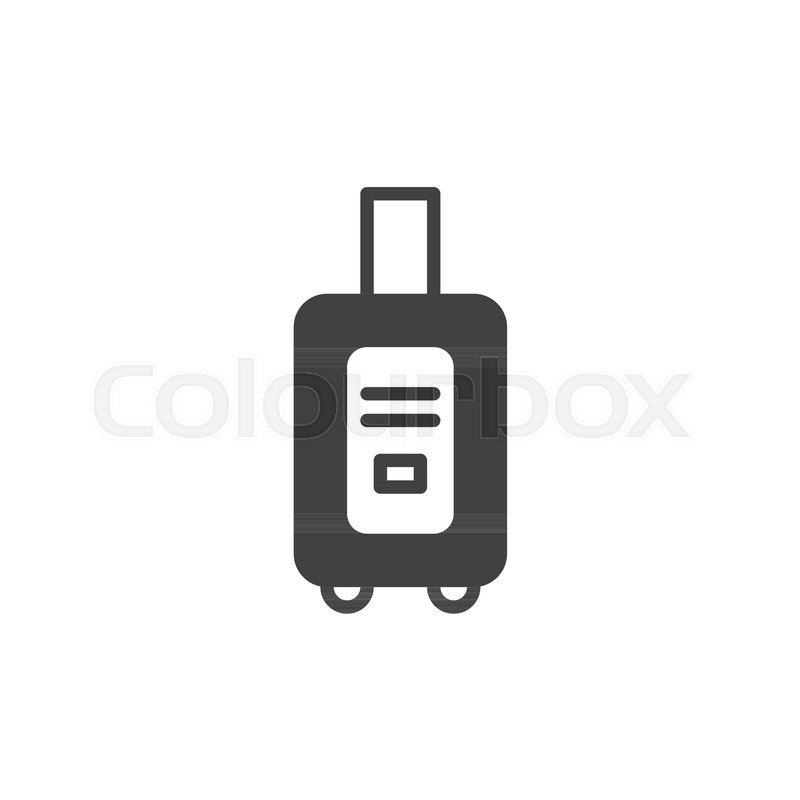800x800 Suitcase Icon Vector, Filled Flat Sign, Solid Pictogram Isolated